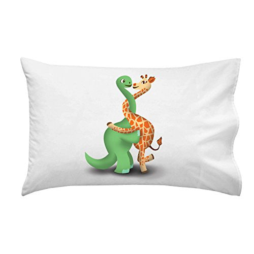 'Dino Giraffe Luv Hug' Dinosaur & Giraffe Cute Love Embrace - Pillow Case Single Pillowcase