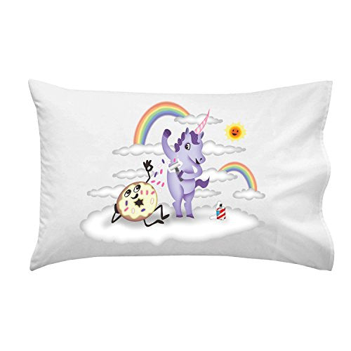 'Donut Unicorn Shaving in Clouds' Funny Mystical Cartoon Artwork - Pillow Case Single Pillowcase