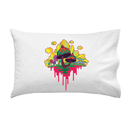 'Drippy Mushrooms' Funny Hippy Shroom Dripping Design Artwork - Pillow Case Single Pillowcase