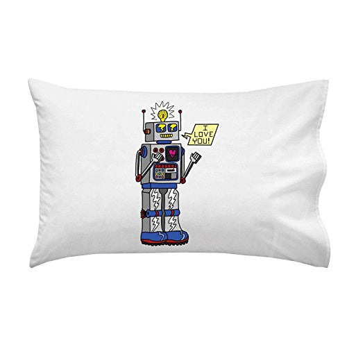 '80's Love Robot' Funny Cute Vintage Robot w/ Feelings - Pillow Case Single Pillowcase