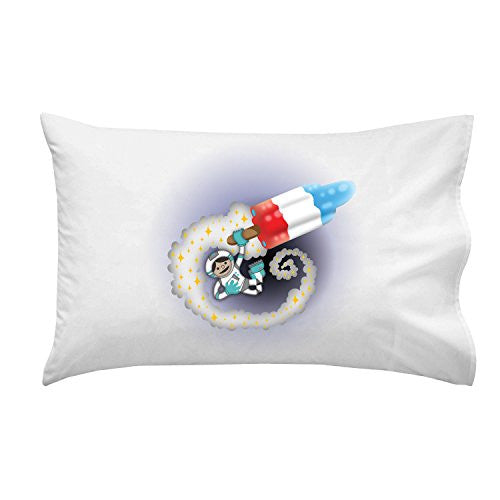 'Spaceman Rocket Popsicle' Funny Red White & Blue Patriotic Space Humor - Pillow Case Single Pillowcase