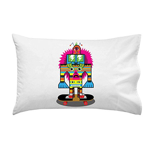 'Punk Skate Totem' Skateboarding Colorful Totem Poll Cartoon - Pillow Case Single Pillowcase