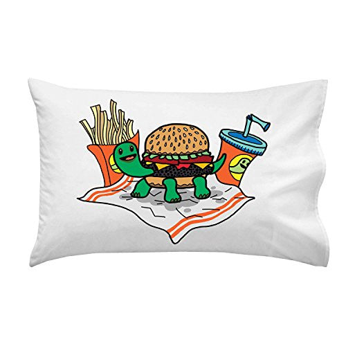 'Turtle Burger' Funny Turtle Shell Bun Burger w/ Fries Meal - Pillow Case Single Pillowcase