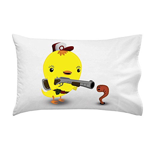 'Early Bird Worm Hunter' Funny Saying Parody Cute Animals - Pillow Case Single Pillowcase