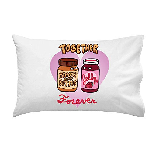 'PBJ Forever' Funny Love Heart Together Romance - Pillow Case Single Pillowcase