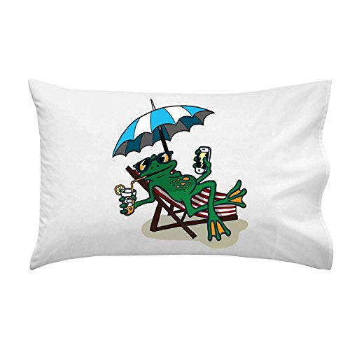'Chillin Froggy' Funny Tree Frog Sitting w/ Phone & Drink - Pillow Case Single Pillowcase