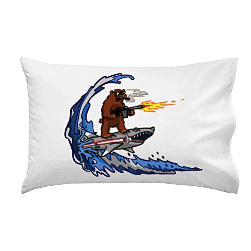 'Shark Surfin Bear' Funny Surfing Animals Humor - Pillow Case Single Pillowcase