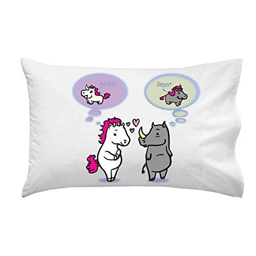 'UniRhino' Funny Horse & Rhino Humor - Pillow Case Single Pillowcase
