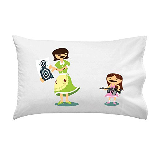 'Good Job Baby' Funny Mom & Daughter Machine Gun Target Practice - Pillow Case Single Pillowcase