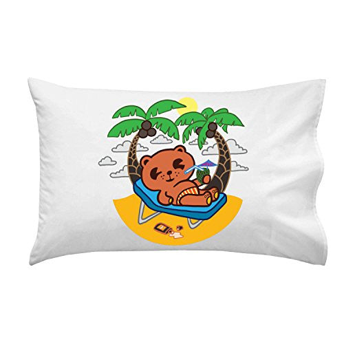 'Beach Rum Bear' Funny Island Drinking Animal - Pillow Case Single Pillowcase
