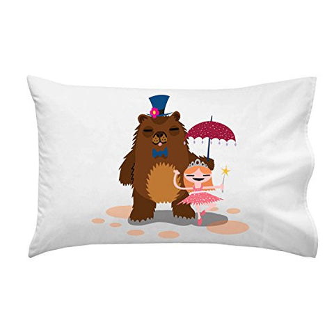 'Bear & Ballerina' Funny Dancing Couple - Pillow Case Single Pillowcase