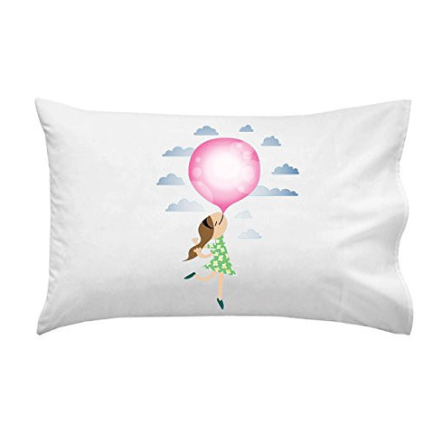 'Bubble Gum Girl' Funny Floating Away - Pillow Case Single Pillowcase
