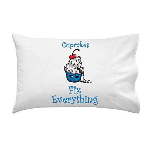 'Cupcakes Fix Everything' Food Humor Cartoon - Pillow Case Single Pillowcase