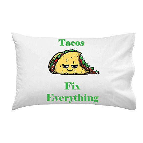 'Tacos Fix Everything' Food Humor Cartoon - Pillow Case Single Pillowcase