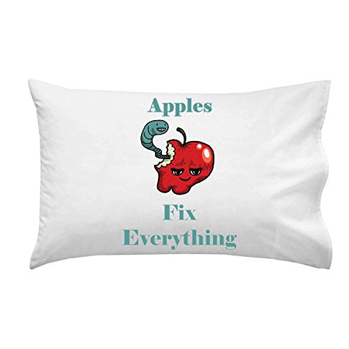 'Apples Fix Everything' Food Humor Cartoon - Pillow Case Single Pillowcase