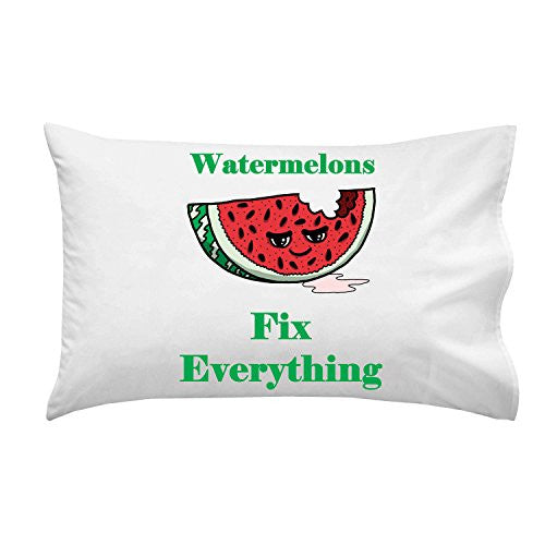 'Watermelons Fix Everything' Food Humor Cartoon - Pillow Case Single Pillowcase