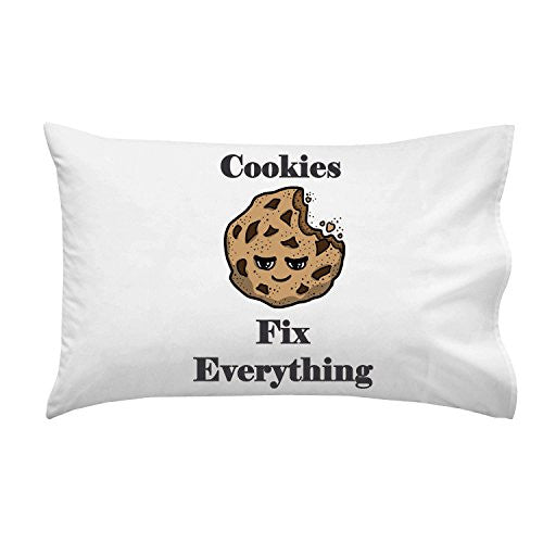 'Cookies Fix Everything' Food Humor Cartoon - Pillow Case Single Pillowcase