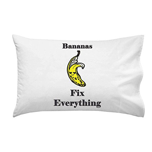 'Bananas Fix Everything' Food Humor Cartoon - Pillow Case Single Pillowcase