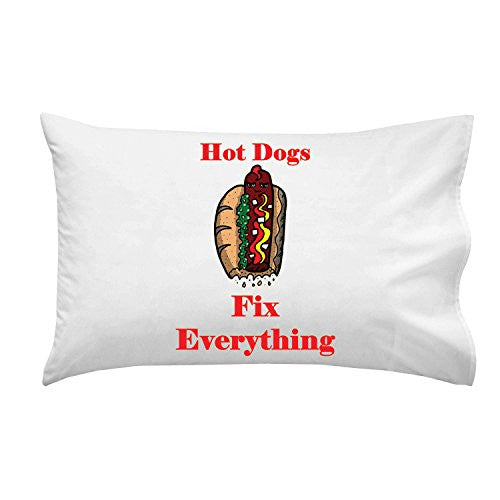 'Hot Dogs Fix Everything' Food Humor Cartoon - Pillow Case Single Pillowcase