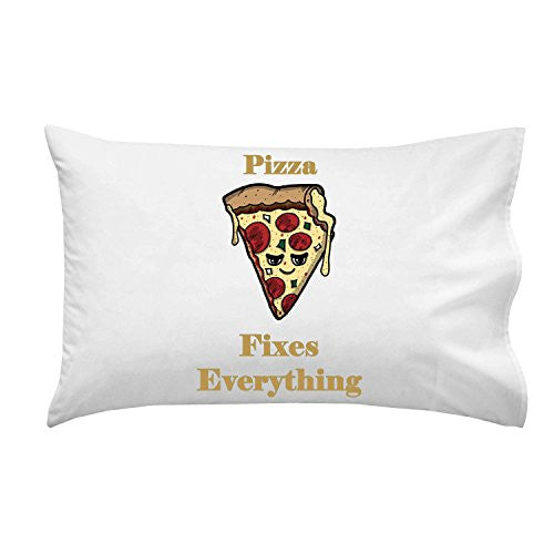 'Pizza Fixes Everything' Food Humor Cartoon - Pillow Case Single Pillowcase
