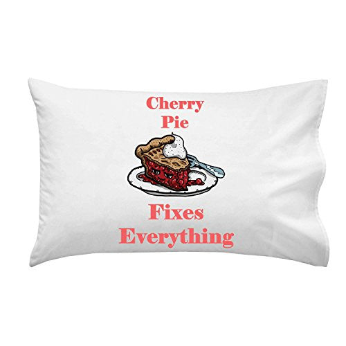 'Cherry Pie Fixes Everything' Food Humor Cartoon - Pillow Case Single Pillowcase