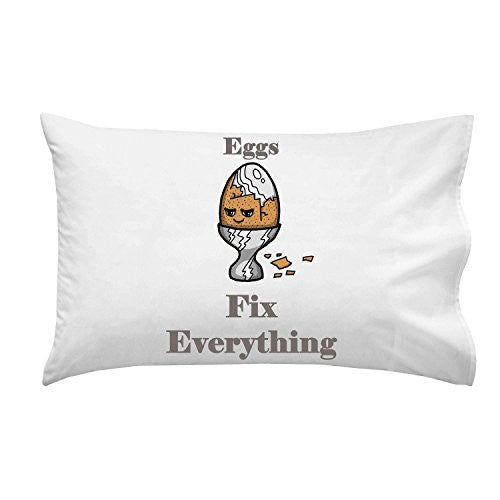 'Eggs Fix Everything' Food Humor Cartoon - Pillow Case Single Pillowcase