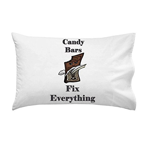 'Candy Bars Fix Everything' Food Humor Cartoon - Pillow Case Single Pillowcase