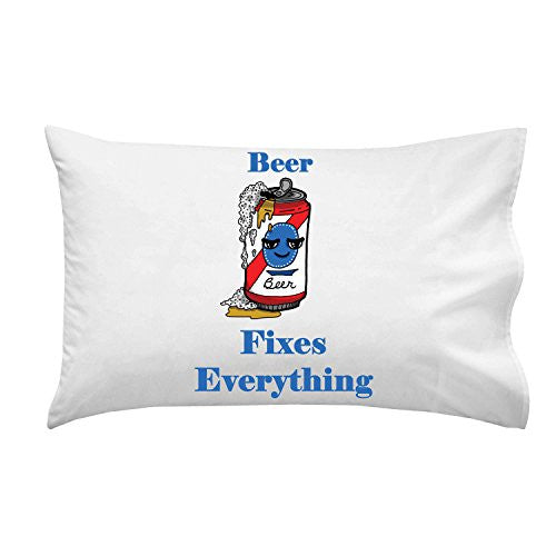 'Beer Fixes Everything' Food Humor Cartoon - Pillow Case Single Pillowcase