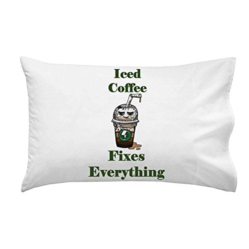 'Iced Coffee Fixes Everything' Food Humor Cartoon - Pillow Case Single Pillowcase