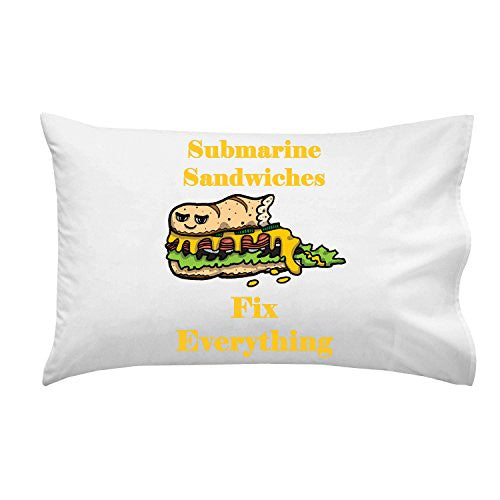 'Submarine Sandwiches Fix Everything' Food Humor Cartoon - Pillow Case Single Pillowcase
