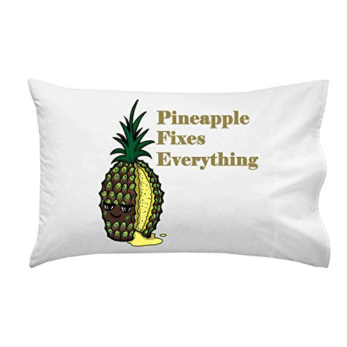 'Pineapple Fixes Everything' Food Humor Cartoon - Pillow Case Single Pillowcase