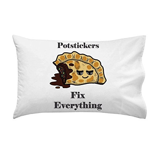 'Potstickers Fix Everything' Food Humor Cartoon - Pillow Case Single Pillowcase