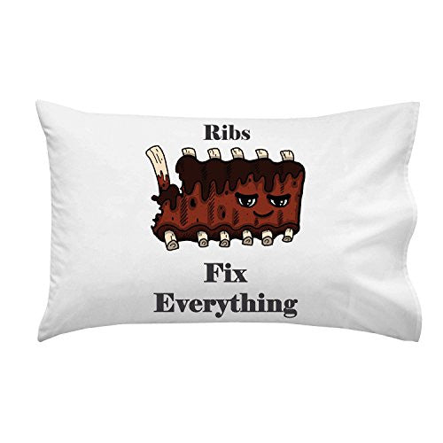 'Ribs Fix Everything' Food Humor Cartoon - Pillow Case Single Pillowcase