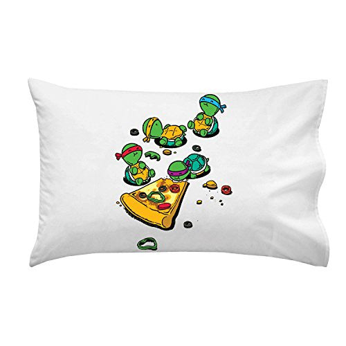 'Pizza Lover' TV Show Cartoon Movie Parody w/ Turtles Eating Pizza - Pillow Case Single Pillowcase
