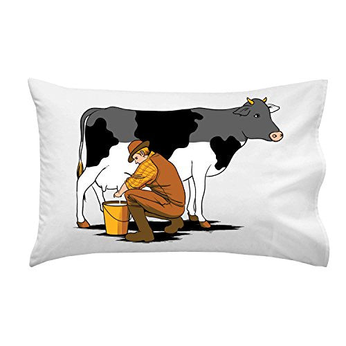 'Milking Out' Funny Man Milking Cow & Draining Color - Pillow Case Single Pillowcase