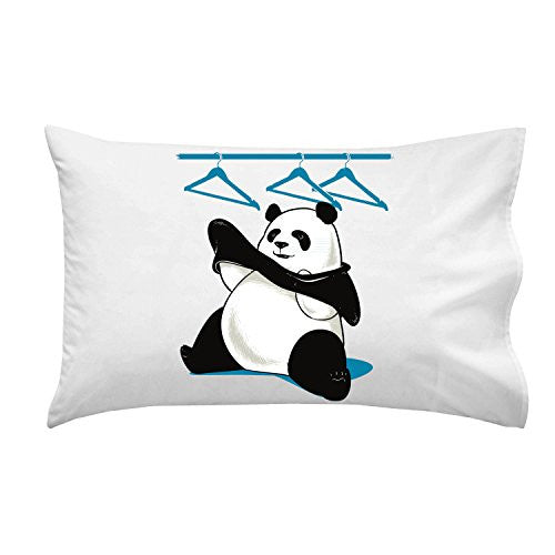 'Outfit' Funny Panda Bear Putting Clothes On - Pillow Case Single Pillowcase