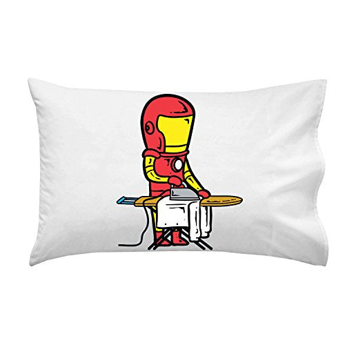 'Part-Time JOB Laundry Shop' Funny Parody Super Hero Ironing Clothes - Pillow Case Single Pillowcase