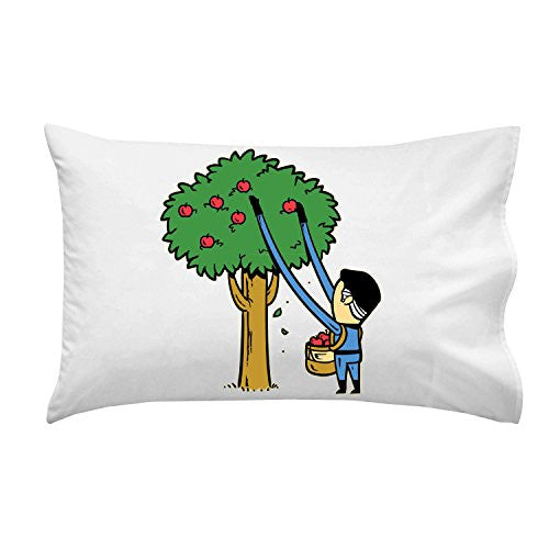 'Part-Time JOB Apple Farm' Funny Parody Super Hero Picking Apples - Pillow Case Single Pillowcase