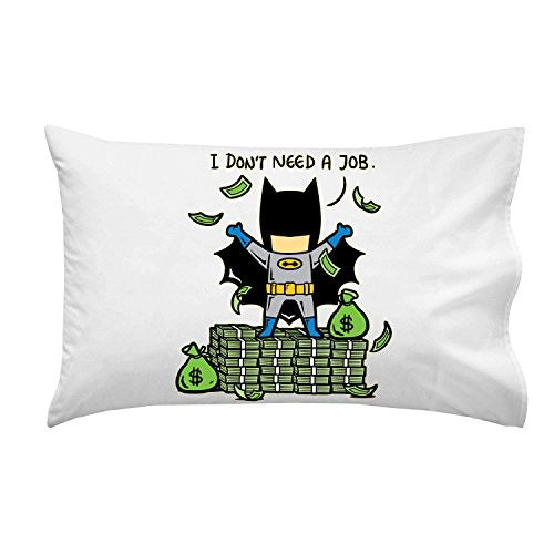 'Part-Time JOB No Job' Funny Parody Super Hero Rich Billionaire Cash Stacks - Pillow Case Single