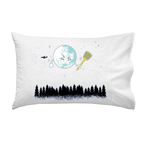 'Disturbing Fly' Funny Cartoon Moon w/ Flyswatter Aiming at Airplane - Pillow Case Single Pillowcase