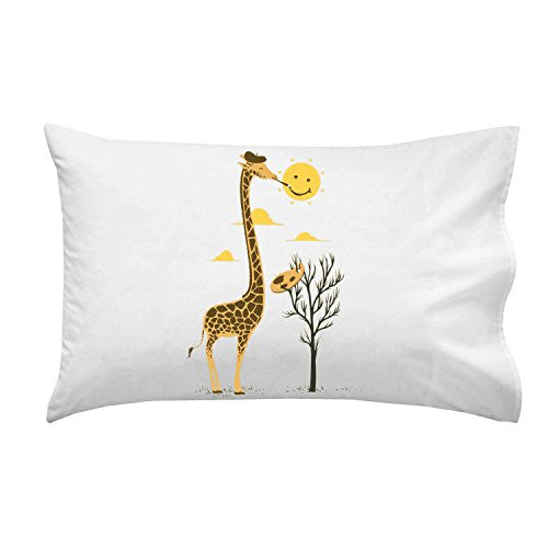 'Painting Smiley' Funny Cartoon Giraffe Artist Painter & Sun Smiling - Pillow Case Single Pillowcase