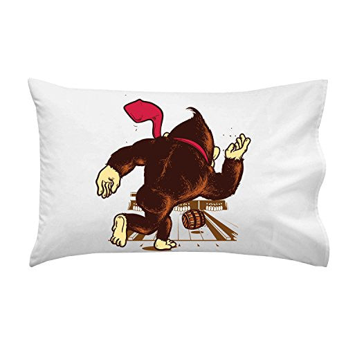 'Training Field' Funny Video Game Parody w/ Gorilla Bowling w/ Barrel - Pillow Case Single Pillowcase