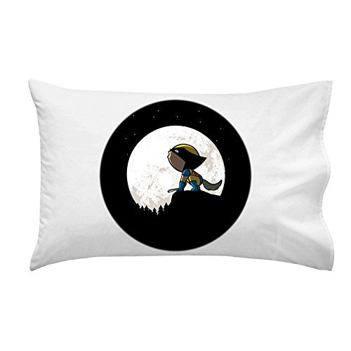 'Howling Wolf' Funny Super Hero Comic Parody w/ Moon - Pillow Case Single Pillowcase