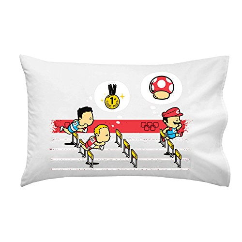 'Hurdles Champion' Funny Video Game Parody w/ Italian Plumber Race - Pillow Case Single Pillowcase