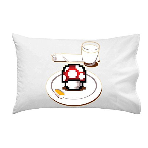 'Nutritious Breakfast' Video Game Parody Mushroom Plate - Pillow Case Single Pillowcase