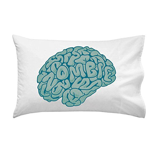 'Zombie Need Brain' Funny Parody Cartoon Hungry For Brains - Pillow Case Single Pillowcase