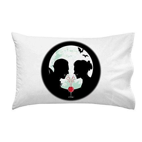 'Bloody Couple' Vampire Date Silhouettes w/ Moon & Bats - Pillow Case Single Pillowcase