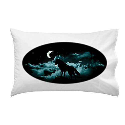 'Waning Crescent' Night Moon w/ Howling Wolf - Pillow Case Single Pillowcase