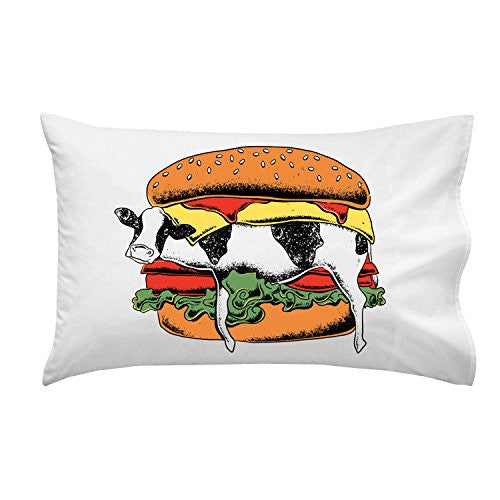 'Still Yum Yum' Funny Cow in Hamburger Cartoon - Pillow Case Single Pillowcase
