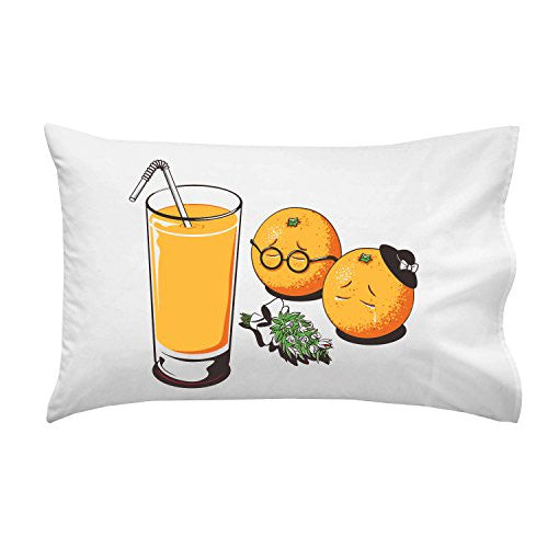 'So Long My Friend' Funny Orange Funeral w/ Glass of Juice - Pillow Case Single Pillowcase